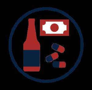 Beer bottle, cash, pills icon